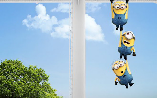 Cute Minion Hanging on Desktop Wallpapers