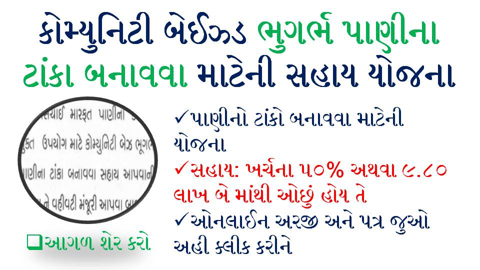 Gujarat Government Pani Na Tanka Mate Sahay Yojna GR And Apply Online