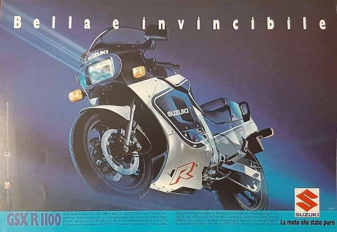 Italian print ad for the GSXR 1100. Interestingly, the bike featured has a single rectangular headlight.