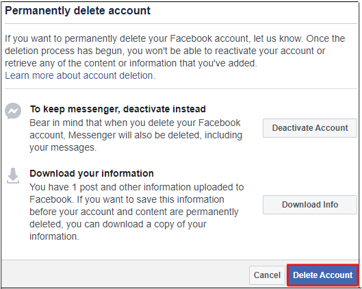 How to deactivate the Facebook account