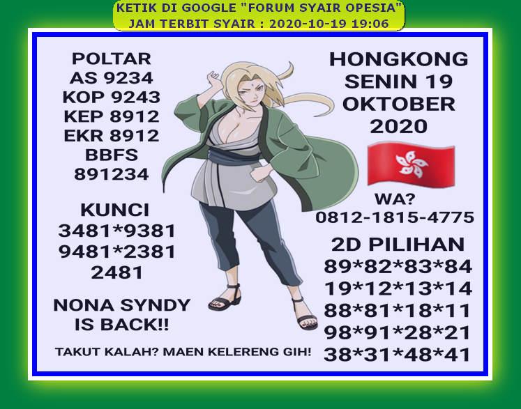 Kode syair Hongkong senin 19 oktober 2020 32