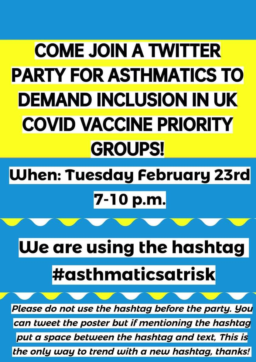 Twitter Party to Demand the UK Government Restores Priority for Covid Vaccines for Asthmatics