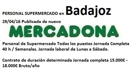 Lanzadera de Empleo Virtual Badajoz, Oferta Mercadona