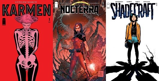 Covers of Karmen #1 Nocterra #1 and Shadecraft #1