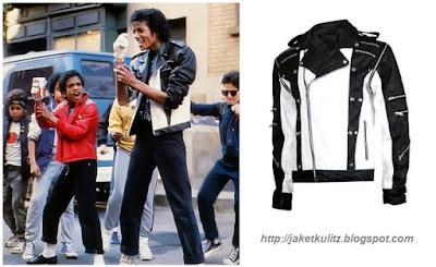 Gambar Jaket Kulit Michael Jackson Kombinasi Hitam Putih Iklan Pepsi