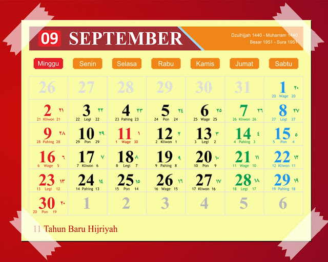Download Kalender September 2018 Hijriyah Jawa Dan Pasaran
