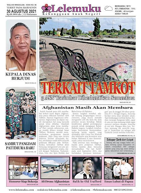 Tablod Lelemuku merupakan surat kabar mingguan berukuran compact yang terbit setiap hari Senin. 4 kali dalam 1 bulan.   Tabloid Lelemuku #56 - Terkait Taman Kota Saumlaki - 30 Agustus 2021