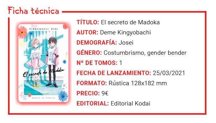 Review manga: El secreto de Madoka - Deme Kingyobachi - Editorial Kodai - ficha técnica