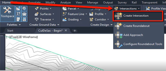Create intersection in Autodesk Civil 3D