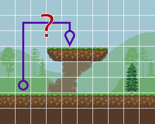 A screenshot of a top-down level, showing that a naive path across tiles doesn't make sense..