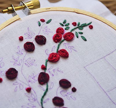 Hướng dẫn thêu hoa hồng leo - Hình 9