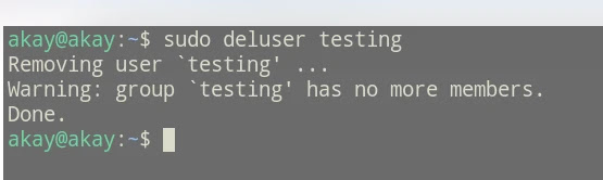 how to delete a user account in Ubuntu