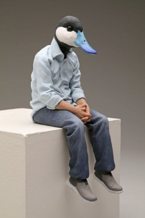 10-Blue-Billed-Duck-Alessandro-Gallo-Clay-Sculptures-of-Human-Animal-Hybrids-www-designstack-co