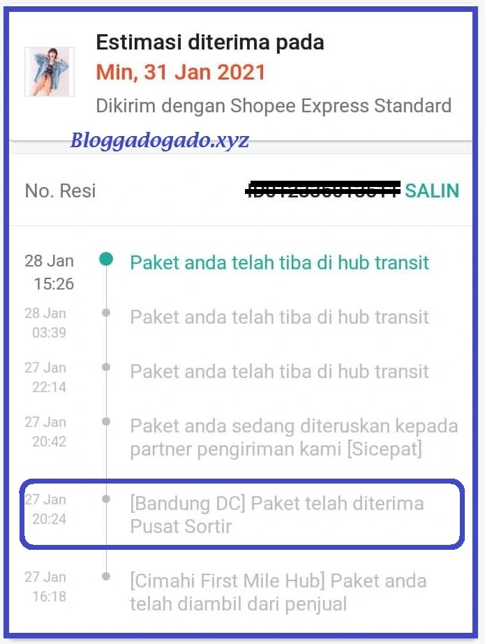Paket Telah Diterima Pusat Sortir Shopee Express Artinya Bloggadogado