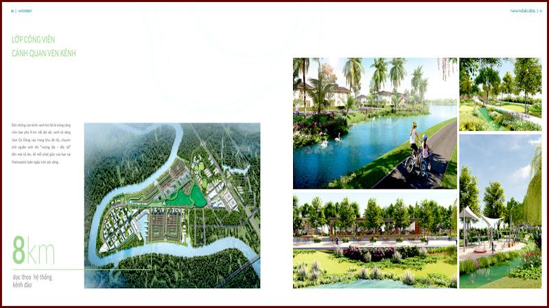 Lớp công viên cảnh quan ven kênh của khu đô thị Waterpoint