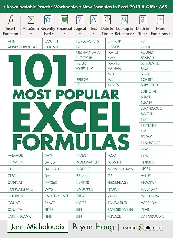 Free Ebook 101 Most Popular Excel Formulas Myexcelonline