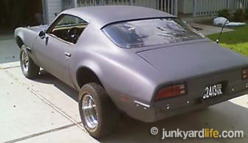 1971 Pontiac Firebird project with a coat of primer
