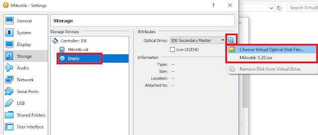 Pilih ISO MikroTik di VirtualBox