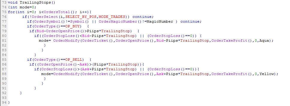 Coding Fungsi Trailing Stop