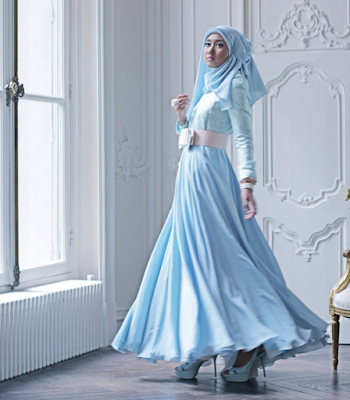 Model Dress Muslim Pesta Dian Pelangi Modern Terbaru