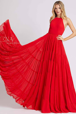 High neck evening dress Ieena For Mac Duggal red color