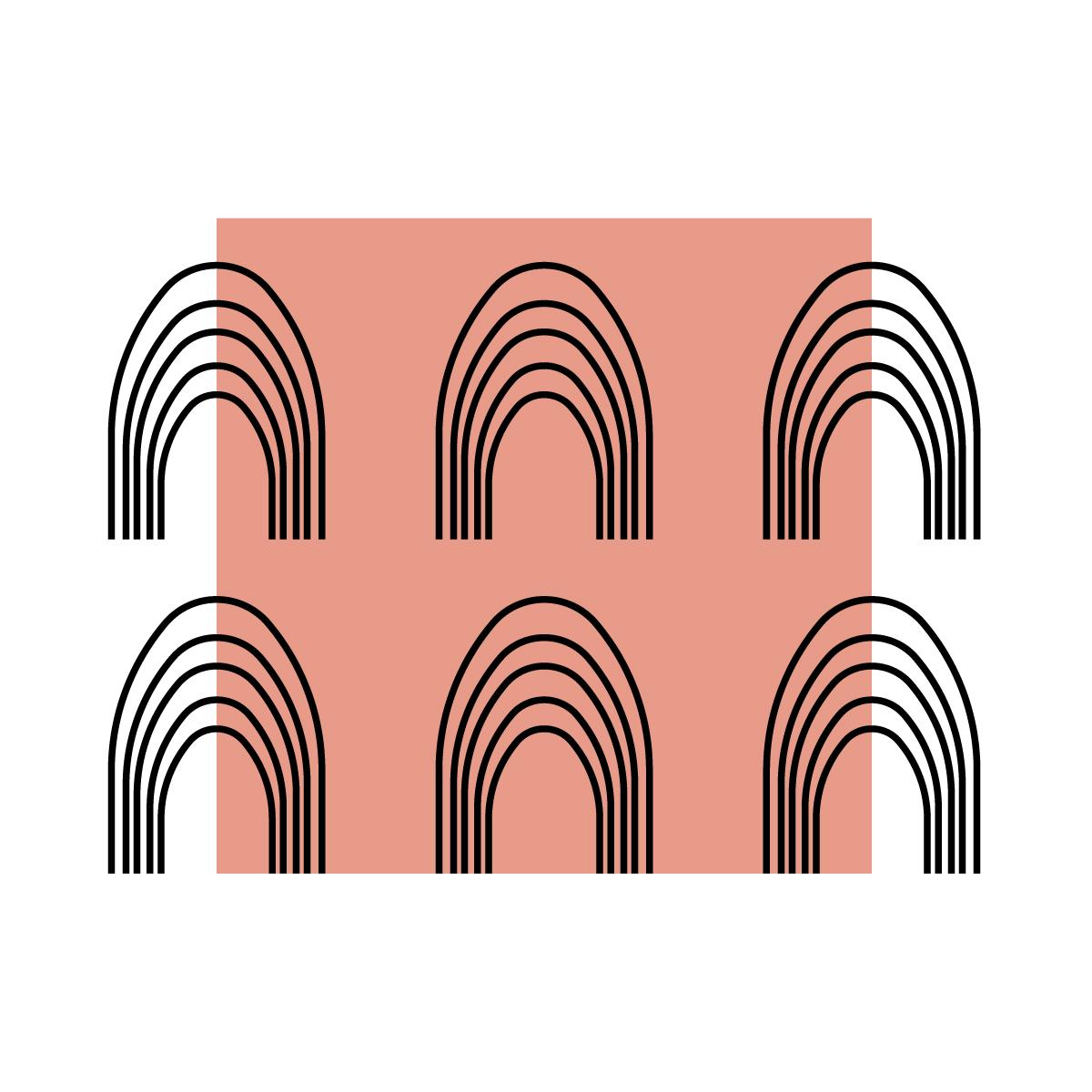Valkoisella pohjalla lohenpunainen suorakulmio, jonka päällä on 6 samanlaista viivoista koostuvaa piirosta jotka muistuttavat sateenkaarta.