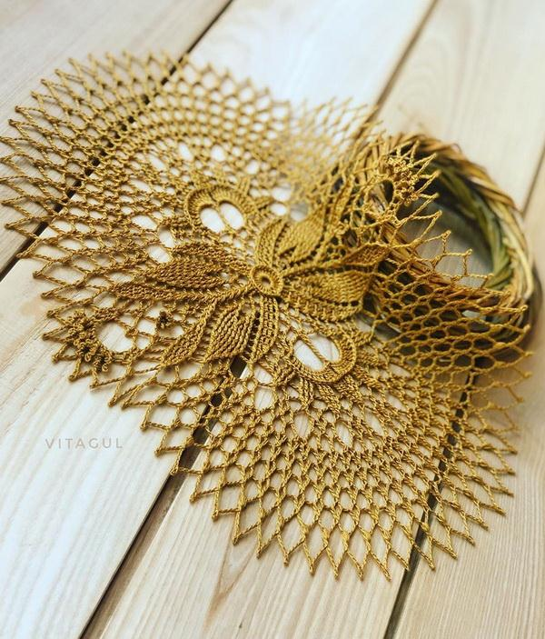Crochet Doily Pattern - Easy, Oval,  gold,