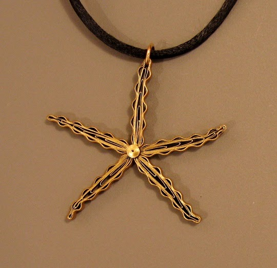 Quilled Starfish Pendant - paper jewelry by Ann Martin