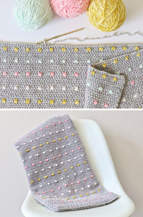 Crochet Candy Dots Baby Blanket - Free Pattern