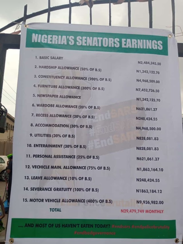 Banners listing outrageous salary and allowances of Nigerian politicians set to flood the country