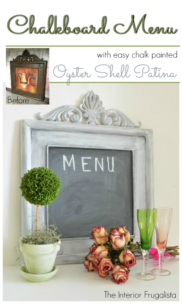 Oyster Shell Patina Chalkboard Menu Before and After
