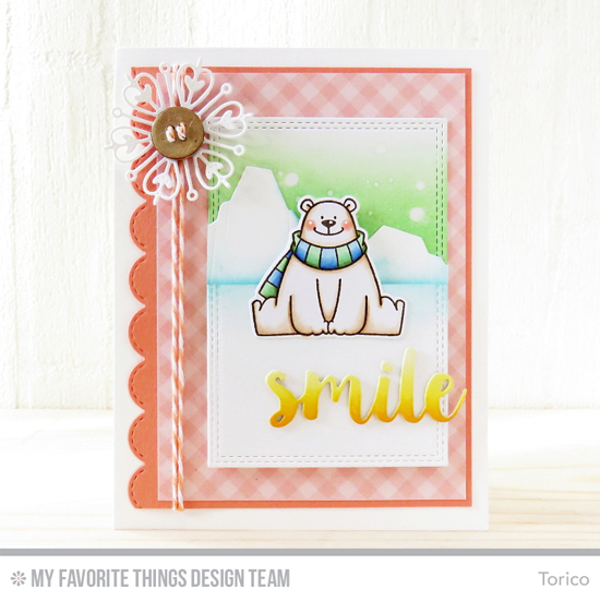 Handmade card from Torico featuring Birdie Brown Polar Bear Pals stamp set and Die-namics and Iceberg Die-namics. Sending Hugs, Stylish Snowflakes, Stitched Scallop Edges and Double Stitched Rectangle STAX Die-namics #mftstamps