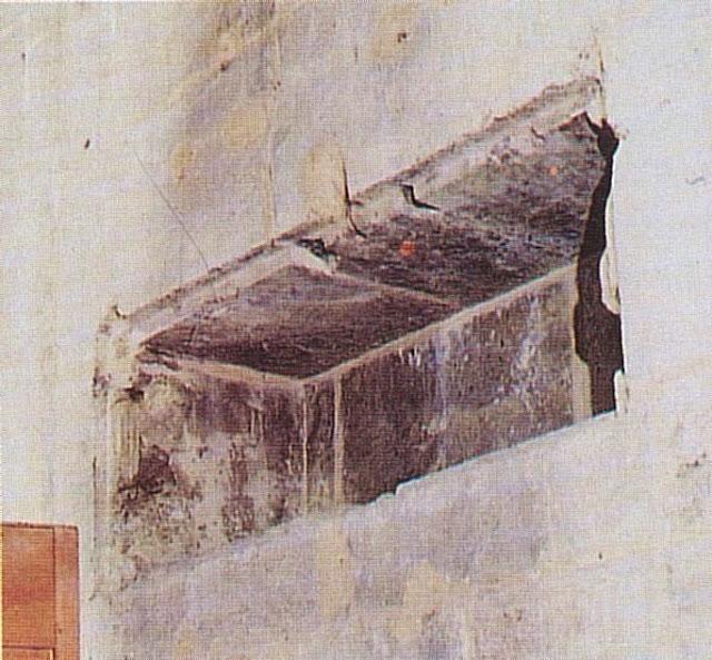 Neste nicho da Sainte Chapelle de Chambéry estava o relicário do Santo Sudário no incêndio de 1532