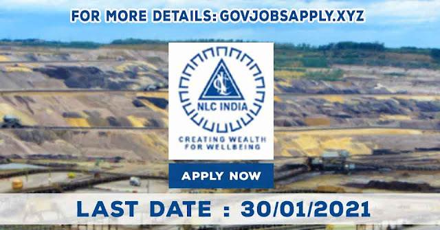 Neyveli Lignite Corporation India Limited Various Recruitment Notification Details 2021   Last Date 30th January 2021