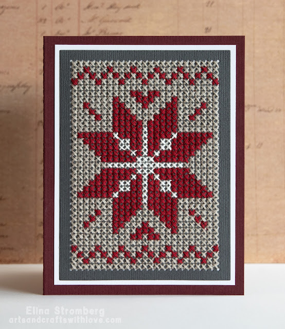 Cross-stitch Christmas cards in Scandinavian style