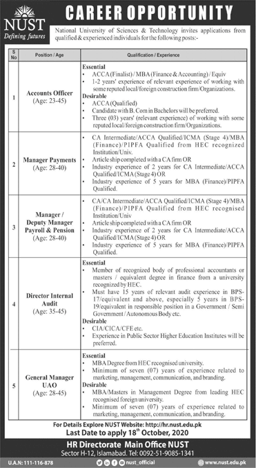 National University of Sciences And Technology NUST Jobs Advertisement in Pakistan - Apply Now - hr.nust.edu.pk