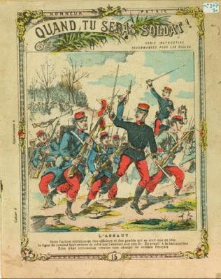 Protège-cahier, série instructive « Quand tu seras soldat ! », vers 1900 (collection musée)
