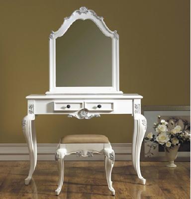 meja rias doco putih kombinasi silver