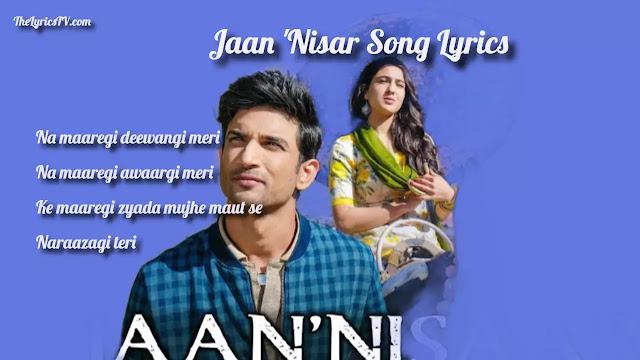 Jaan 'Nisar Hindi Song Lyrics - Arijit Singh