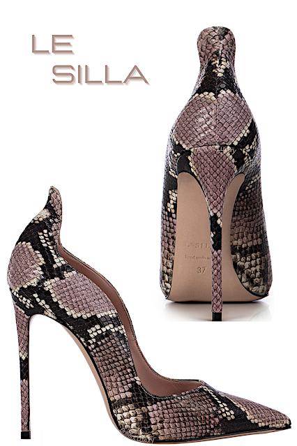 Le Silla Ivy pink printed python vegan leather pump #lesilla #shoes #brilliantluxury
