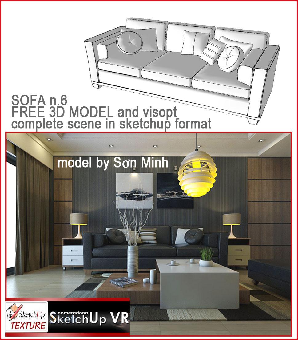 SKETCHUP TEXTURE: SKETCHUP FREE 3D MODEL SOFA #6 and VISOPT #7
