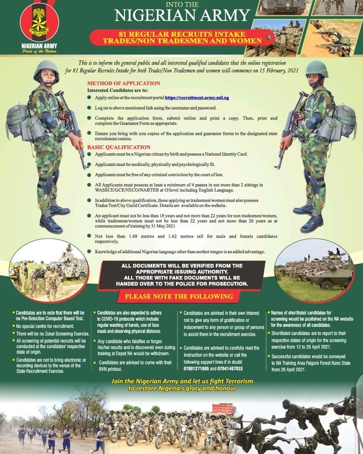 Nigerian Army 81RRI Recruitment Form 2021/2022 [FREE OF CHARGE]