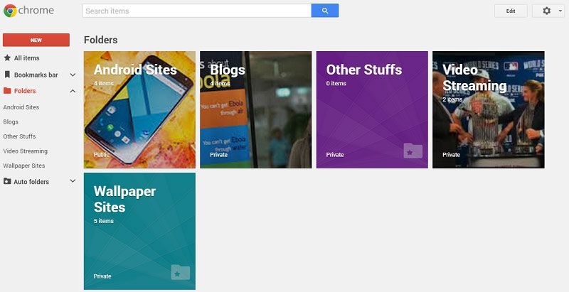 Try Material Design on Bookmark Manager for Chrome