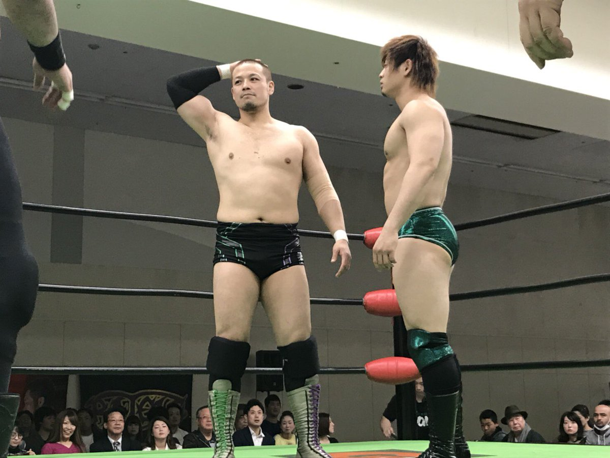 b64a5aaafb During Global Tag League, Go Shiozaki appeared with a shaved head, this was  due to appearing in an advert for