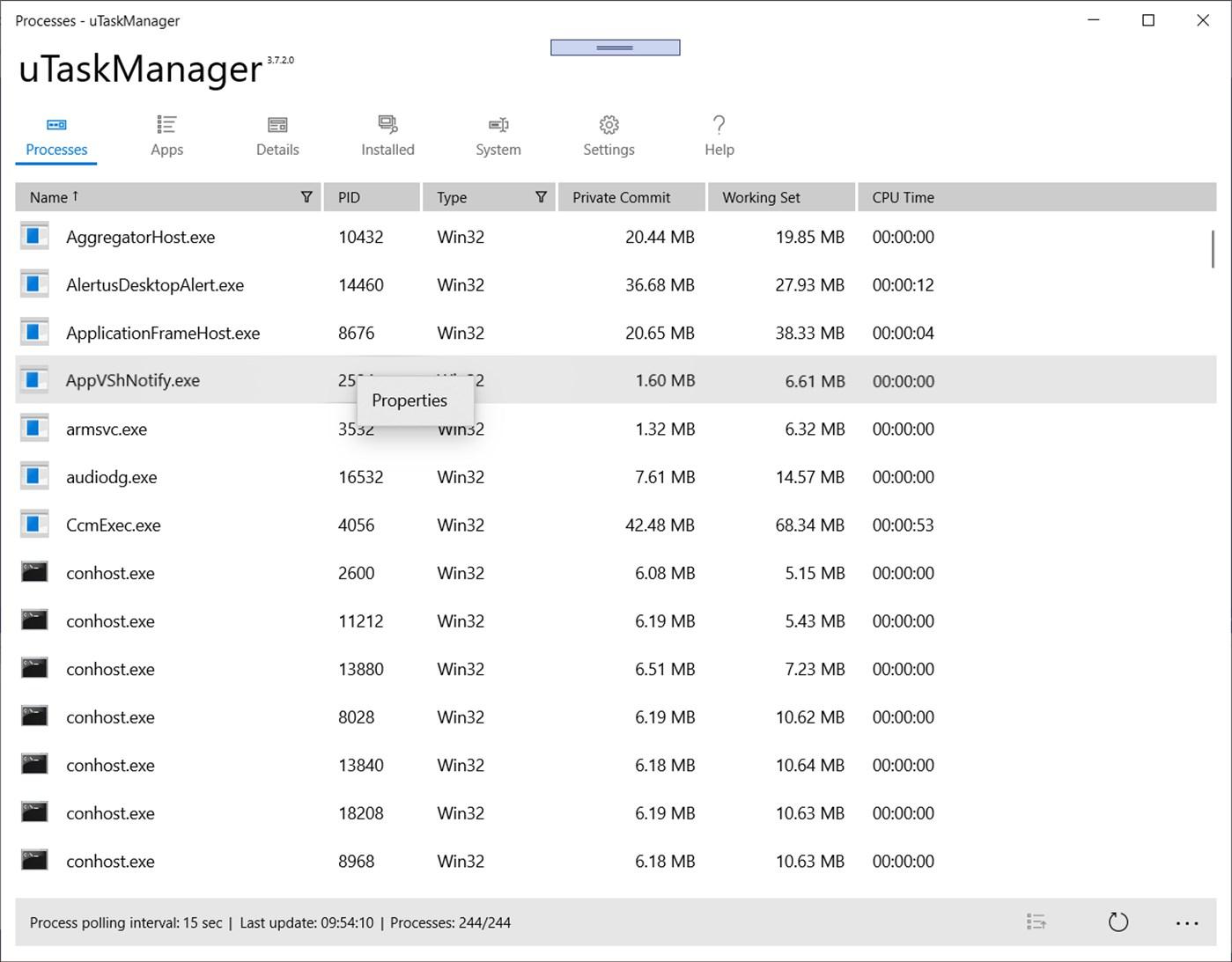 uTaskManager, Task Manager App UWP per Windows 10