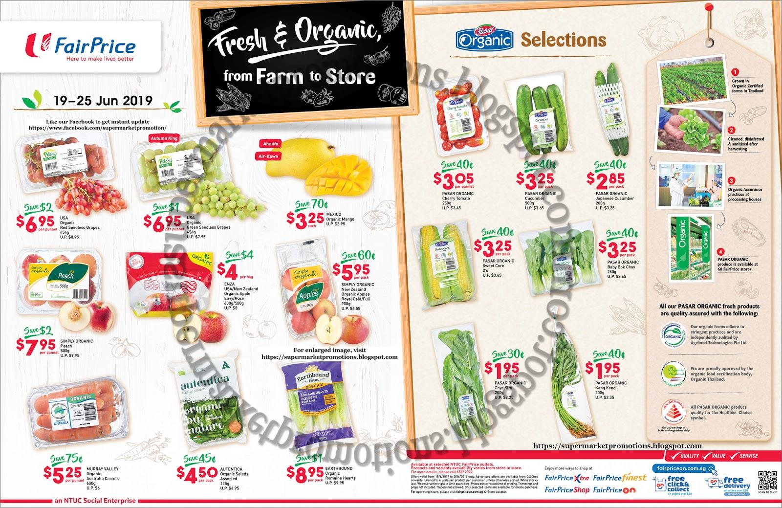 NTUC FairPrice Organic Promotion 19 - 25 June 2019 ~ Supermarket