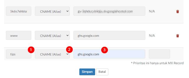 Cara Membuat Subdomain dari Custom Domain Blogger
