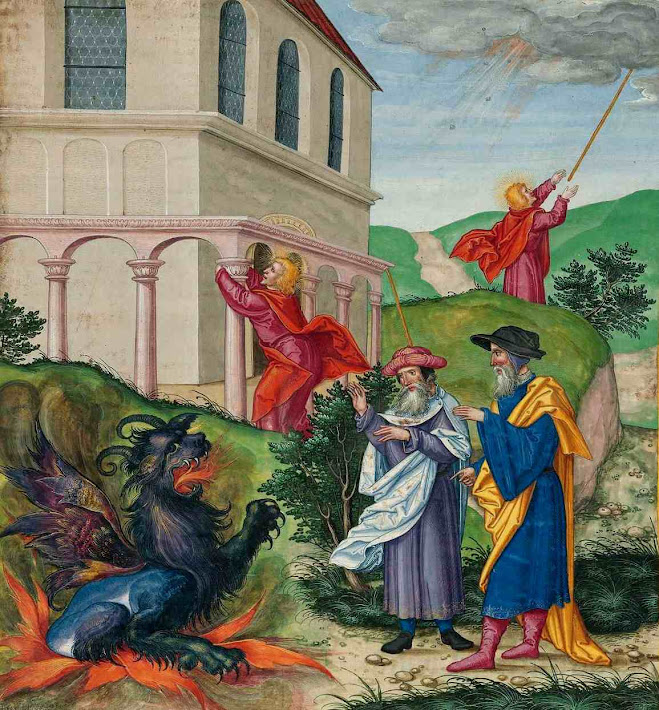 As duas tesemunhas invectivarão o Anticristo, Ottheinrich-Bibel 23,Bayerische Staatsbibliothek, Cgm 8010.