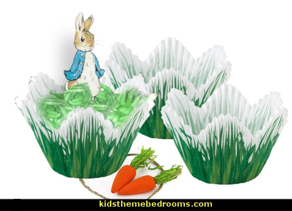 Petal Grass Shaped Baking Cups  Peter Rabbit party supplies - Peter Rabbit Party Ideas - Peter Rabbit Party Theme  decorations - Peter Rabbit birthday party decorations - Peter Rabbit spring garden party decorating - garden party - Carrots Chocolate Candy molds  -  Carrot cake cookie molds - flower decorations - bunny party sweets - bunny party supplies