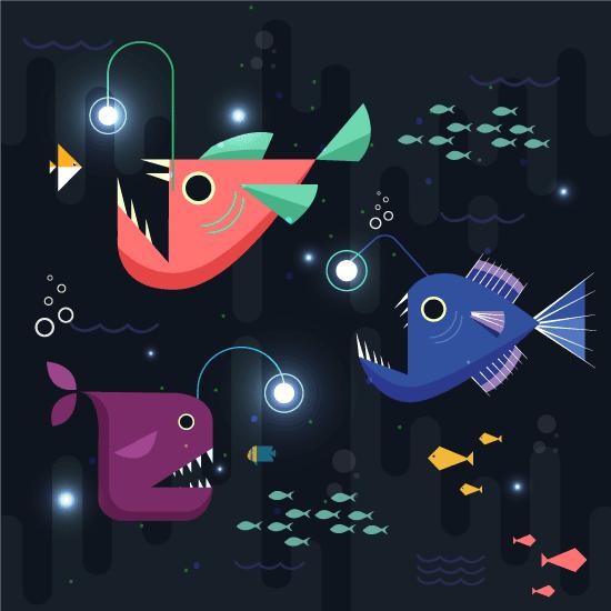 Peces abisales cartoon,  peces luminosos de las profundidades. Peces de ojos saltones y dientes largos